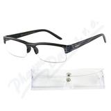 Brýle čtecí +1. 00 UV400 černé s pruhy a pouzdrem