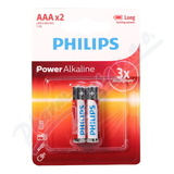 Baterie Power Alkaline AAA PHILIPS LR03P2B/10 2ks