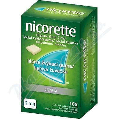 Nicorette Classic Gum 2mg 105 žvýkaček bez cukru